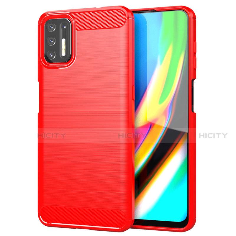 Coque Silicone Housse Etui Gel Line S01 pour Motorola Moto G9 Plus Rouge Plus