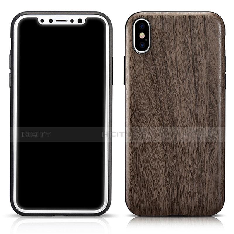 Coque Silicone Motif de Grain de Bois Souple Couleur Unie pour Apple iPhone Xs Max Gris Plus