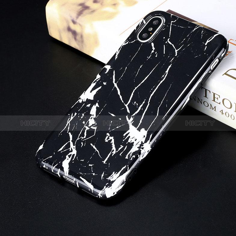 Coque Silicone Motif de Marbre Souple Couleur Unie P01 pour Apple iPhone Xs Max Noir Plus