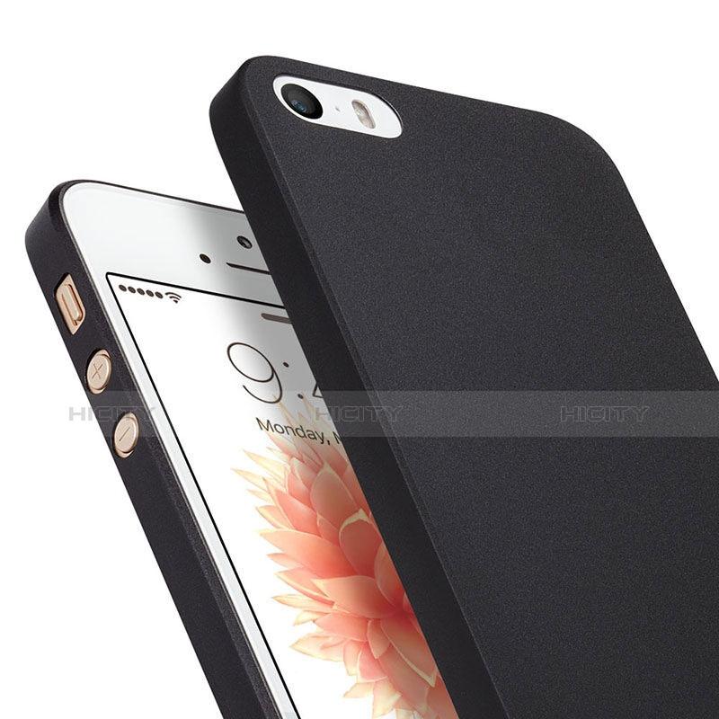 coque ultra fine mat rigide transparente pour apple iphone se noir 6282 plus 5