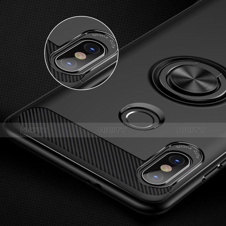 Coque Ultra Fine Silicone Souple avec Support Bague Anneau A02 pour Xiaomi Redmi Note 5 Pro Noir Plus
