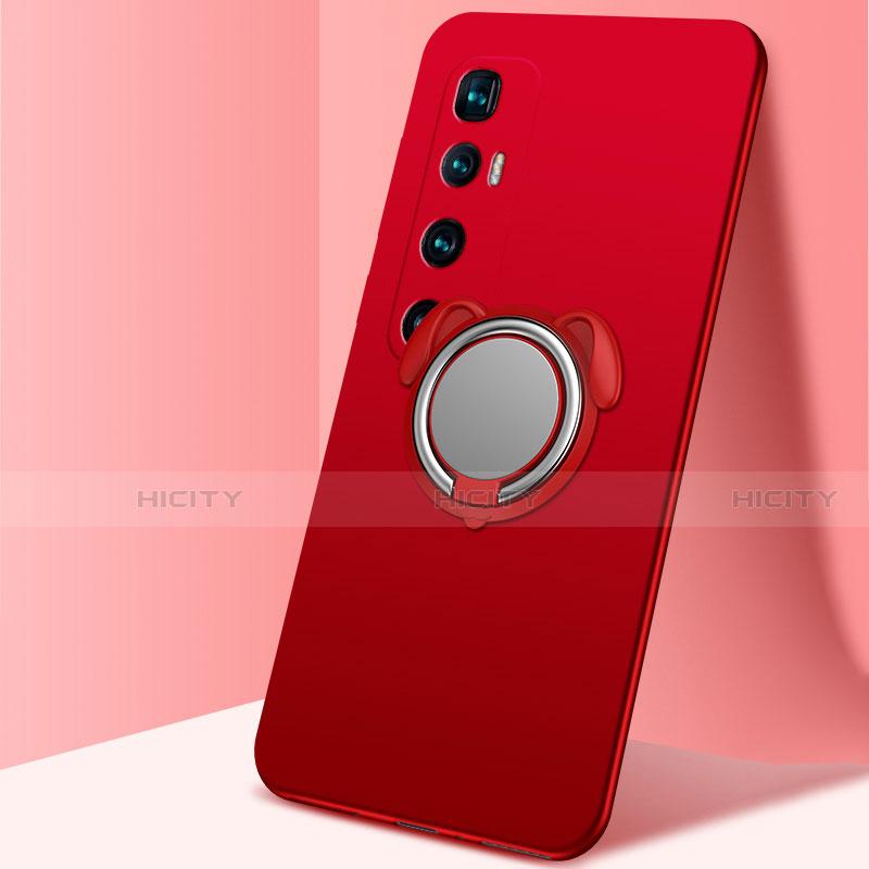 Coque Ultra Fine Silicone Souple Housse Etui avec Support Bague Anneau Aimante Magnetique A01 pour Xiaomi Mi 10 Ultra Rouge Plus