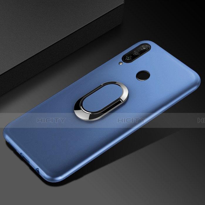 Coque Ultra Fine Silicone Souple Housse Etui avec Support Bague Anneau Aimante Magnetique pour Huawei Honor 20 Lite Bleu Plus