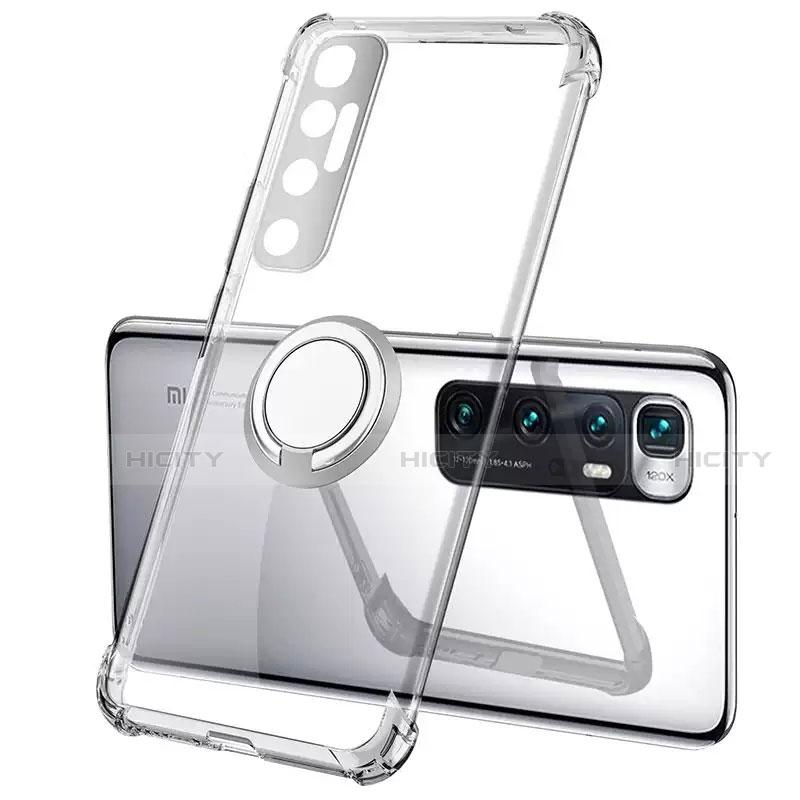 Coque Ultra Slim Silicone Souple Housse Etui Transparente avec Support Bague Anneau Aimante Magnetique S01 pour Xiaomi Mi 10 Ultra Plus