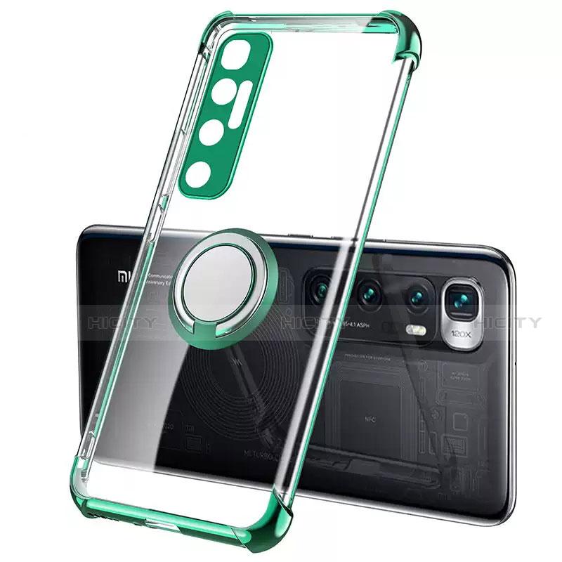 Coque Ultra Slim Silicone Souple Housse Etui Transparente avec Support Bague Anneau Aimante Magnetique S01 pour Xiaomi Mi 10 Ultra Vert Plus
