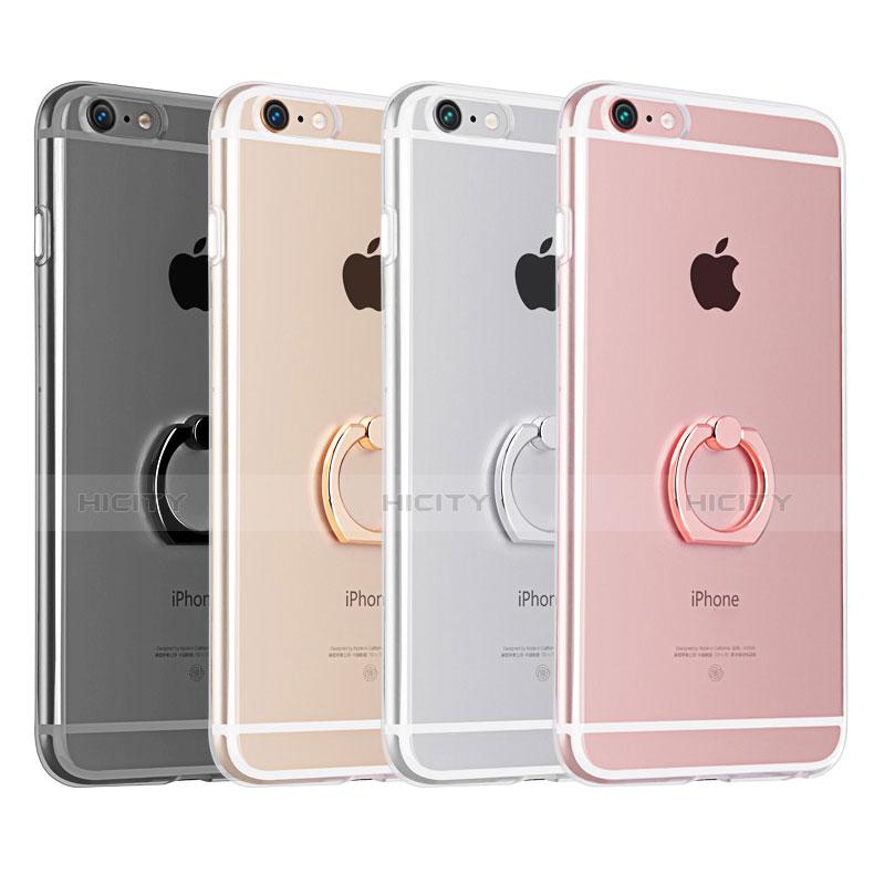 coque ultra slim silicone souple housse etui transparente avec support bague anneau s01 pour apple iphone 6 plus 2