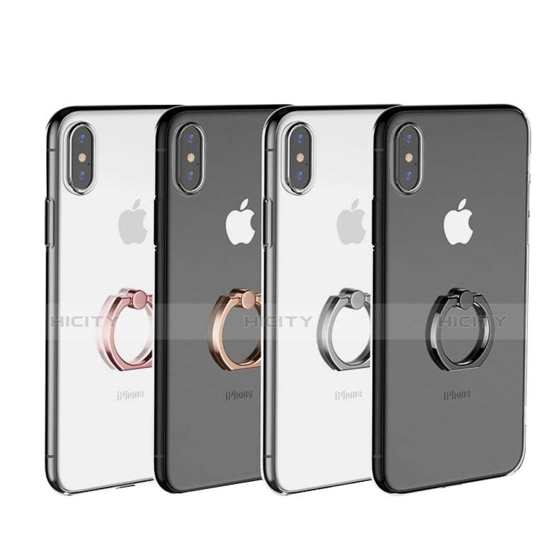 coque ultra slim silicone souple housse etui transparente avec support bague anneau v01 pour apple iphone x plus 2
