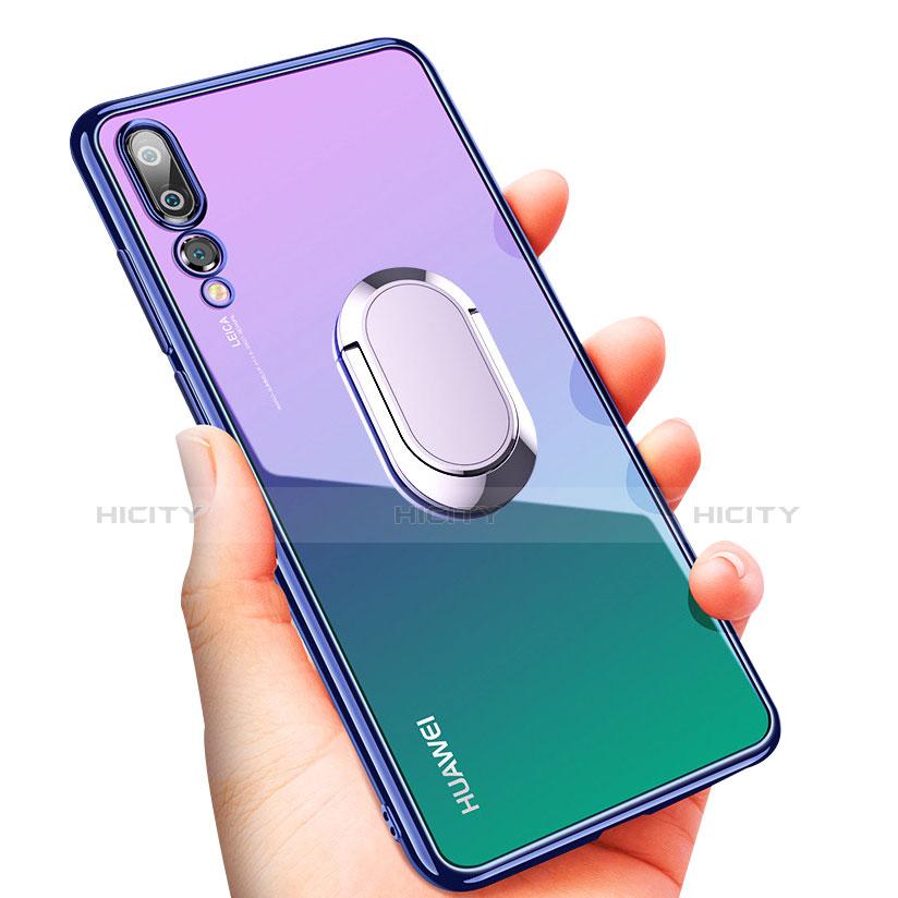 Coque Ultra Slim Silicone Souple Transparente avec Support Bague Anneau pour Huawei P20 Pro Bleu Plus