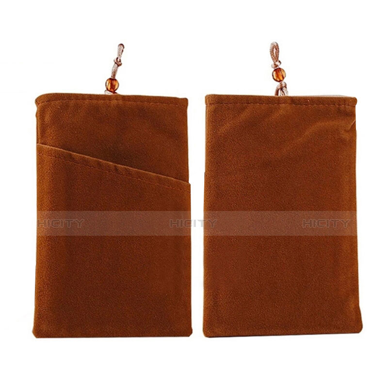 Double Pochette Housse Velour Universel Marron Plus