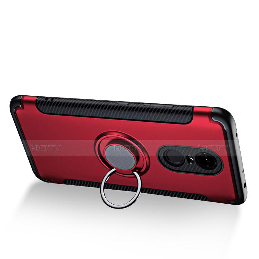 Etui Contour Silicone et Plastique Mat avec Support Bague Anneau pour Xiaomi Redmi 5 Plus Rouge Plus