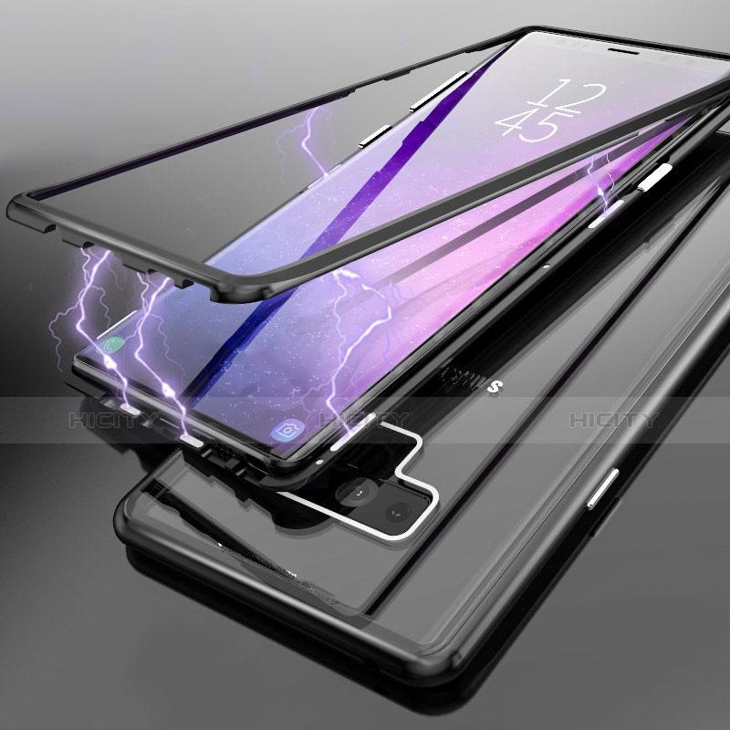 Etui Luxe Aluminum Metal et Vitre Transparente Miroir pour Samsung Galaxy Note 9 Noir Plus