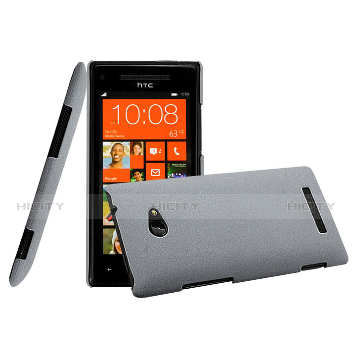 Etui Plastique Rigide Mat pour HTC 8X Windows Phone Gris Plus