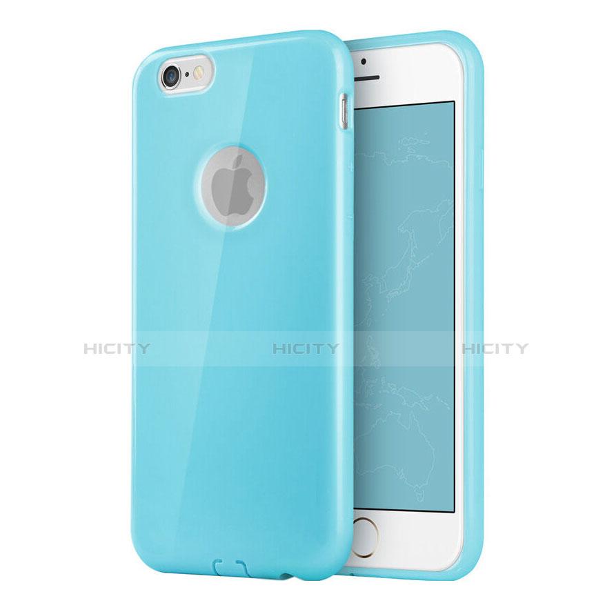 Couleur Avec Bleu Ciel etui silicone avec trou souple couleur unie pour apple