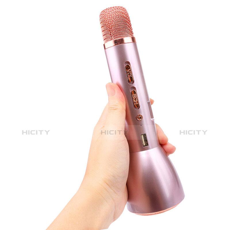 Mini Microphone de Poche Sans Fil Bluetooth Karaoke Haut-Parleur Or Rose Plus