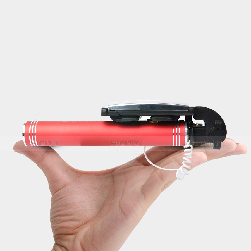 Perche de Selfie Filaire Baton de Selfie Cable Extensible de Poche Universel S20 Rouge Plus