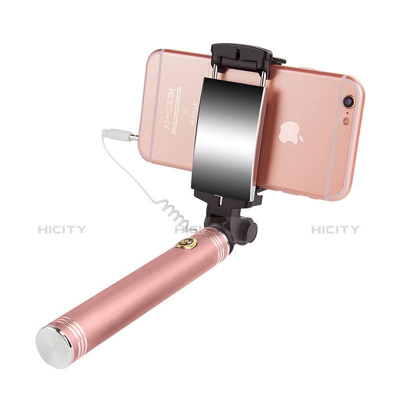 Perche de Selfie Filaire Baton de Selfie Cable Extensible de Poche Universel S22 Or Rose Plus