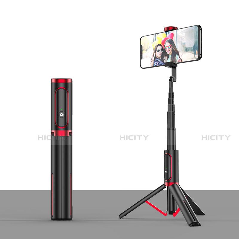 Perche de Selfie Trepied Sans Fil Bluetooth Baton de Selfie Extensible de Poche Universel T26 Rouge et Noir Plus
