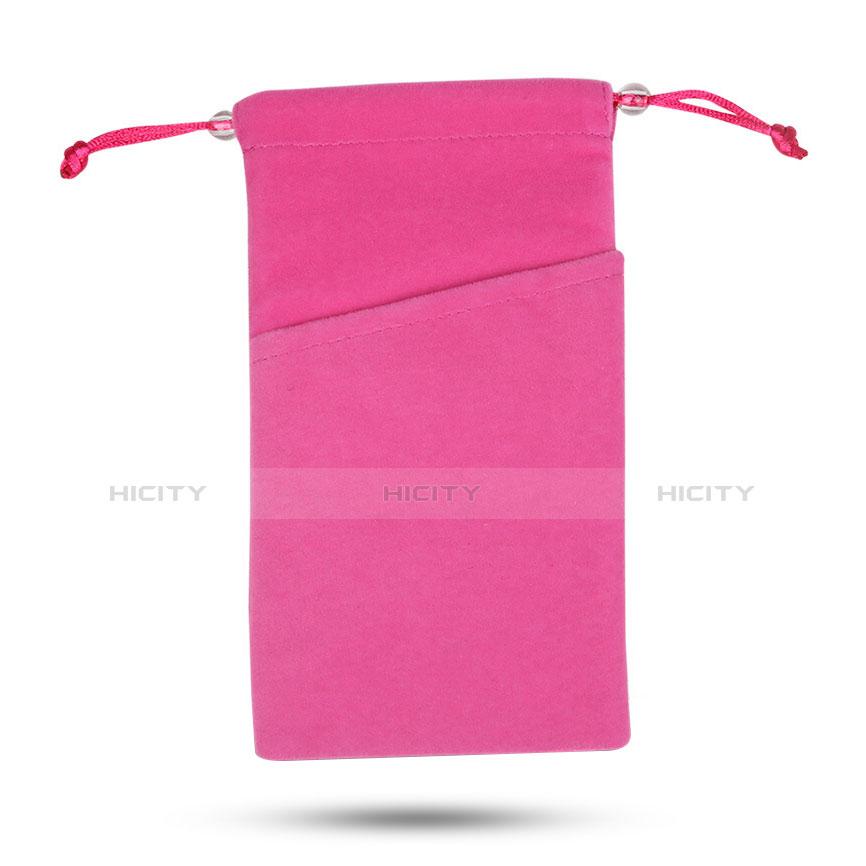 Pochette Velour Coque Universel Rose Rouge Plus